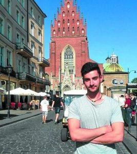 Inaxio Aizpurua en Cracovia, donde se encuentra realizando prácticas